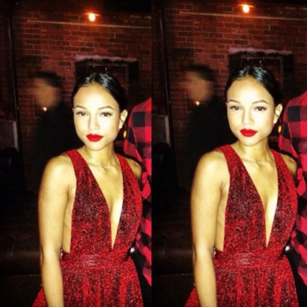 red lipstick karrueche v neck dress red dress date outfit coat