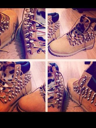 shoes leopard spikes timberlands