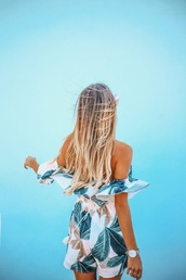 romper,print,tumblr,pattern,off the shoulder,hair,hairstyles,long hair,ombre hair