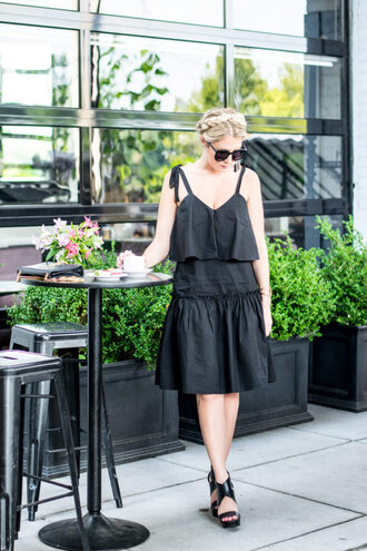 a lacey perspective - a fashion blog based in our nation's capital. blogger dress bag shoes sunglasses black dress black heels sandals sandal heels high heel sandals black sunglasses braid all black everything summer dress summer outfits