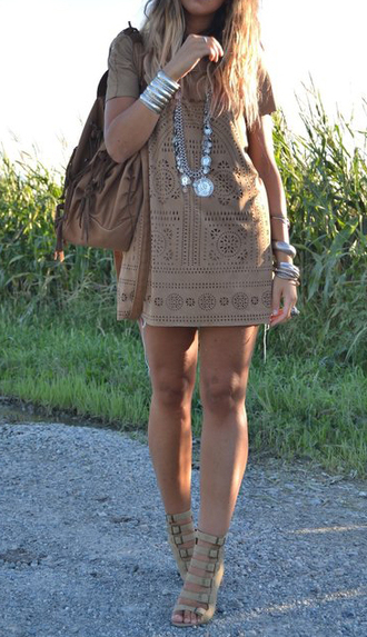 dress casual dress shoes brown dress indie boho boho dress neutral dress nude short short dress tumblr free people lace jewelry necklace teenagers gossip girl urban outfitters bracelets taupe laser cut tan dress bohemian mini dress leather dress indian style boho chic brown suede beige dress beautiful classy classy dress