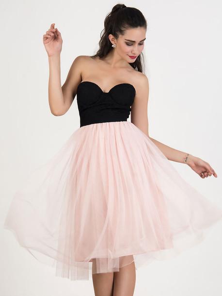 d67d90a48e3bb4 dress chiclook closet prom dress strapless pastel pink black dress birthday dress  party dress style cute