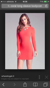 dress,tight,coral,bodycon dress