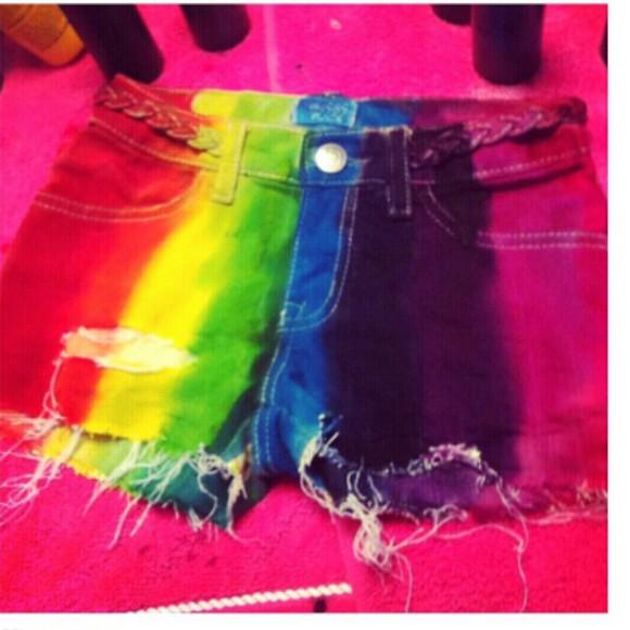 rainbow rainbow shorts dip dye shorts dip dyed