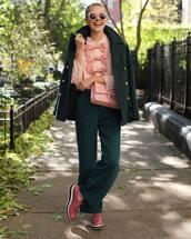 top,shirt,pink shirt,pants,wide-leg pants,shoes,coat,wool coat,crossbody bag,sunglasses