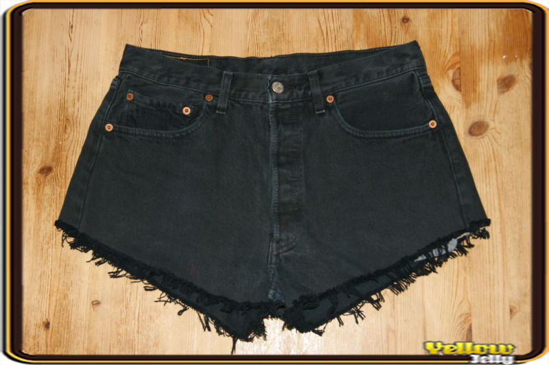 LEVIS VINTAGE WOMENS HIGH WAISTED BLACK HOTPANTS DENIM SHORTS SIZE 8 10 12 14 16 | eBay