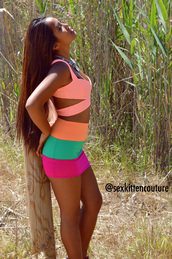 skirt,cut out top,coral,exotic,tropical,3 tone skirt,berry,emerald green,orange,coral cut out top,coral crop top,crop tops,summer,sex kitten couture,high waisted skirt,summer outfits,top