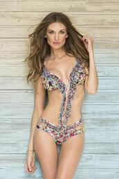 swimwear,triangle monokini,frilly ruffles,moderate coverage bottom,paradizia swim