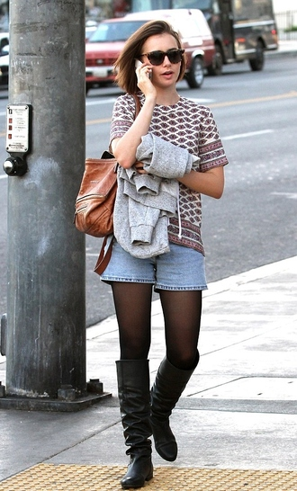 top shorts boots fall outfits lily collins denim shorts