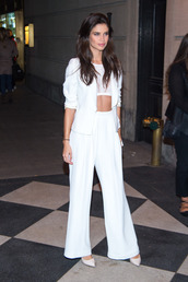 pants,top,sara sampaio,model off-duty,crop tops,wide-leg pants,blazer,all white everything