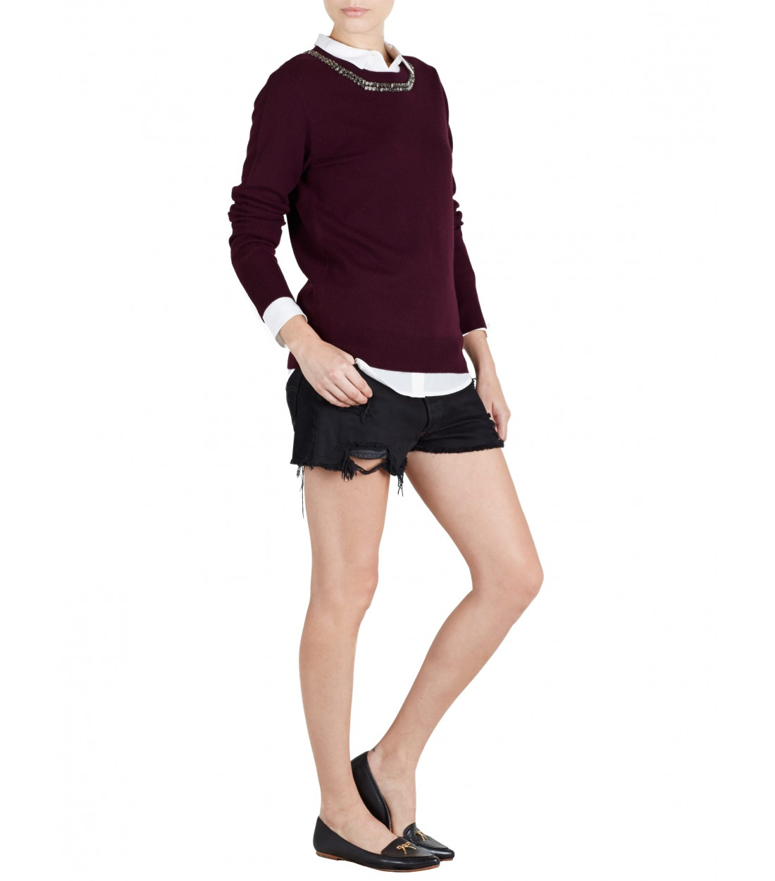 EQUIPMENT Shane Cabernet / Crystal Neckline | Cashmere Sweater
