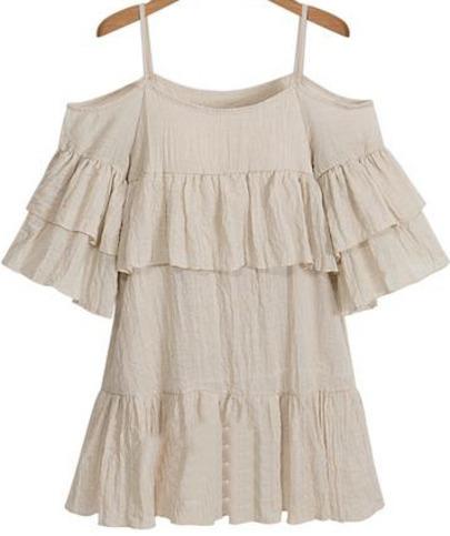 Apricot Spaghetti Strap Off the Shoulder Ruffle Dress - Sheinside.com