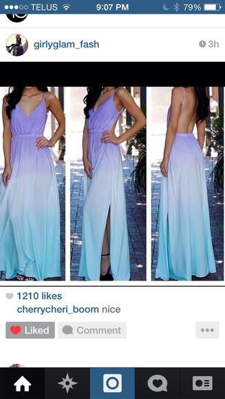 dress maxi dress cute spring summer pretty fashion style blue white maxi ombré gorgeous vacation purple flowy