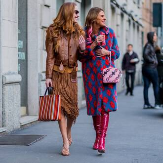 coat tumblr printed coat boots red boots anna dello russo streetstyle fashionista midi skirt mustard fringes fringe skirt leather jacket jacket brown jacket bag printed bag pink bag