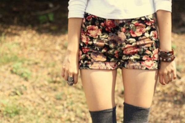 shorts clothes floral flowers