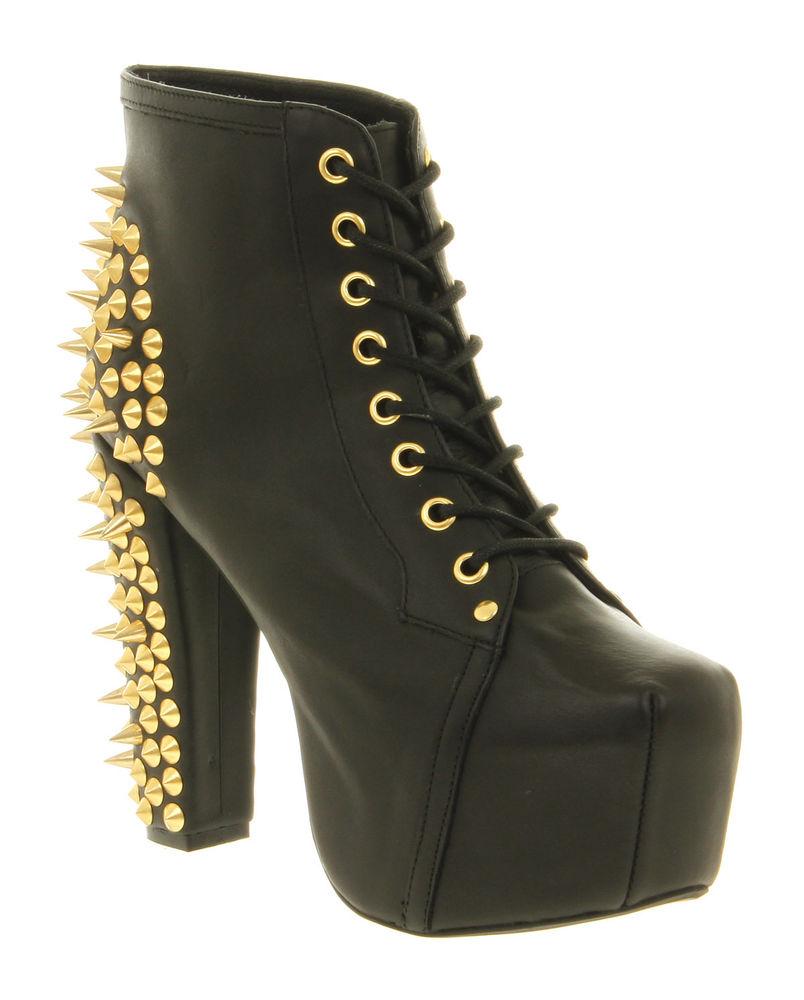 Womens jeffrey campbell lita platform ankle boot black gold spikes heels