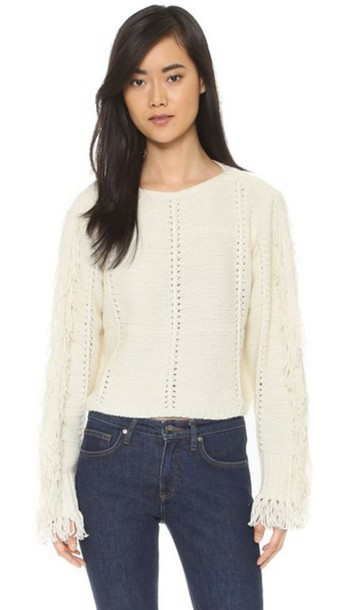 3.1 Phillip Lim Cropped Pullover With Fringe Details - Ivory ...