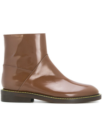 women boots ankle boots leather brown shoes