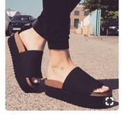shoes,black foam,black platforms
