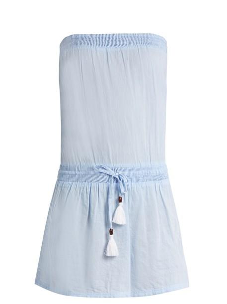 dress strapless cotton light blue light blue