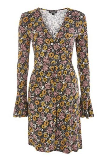 Topshop dress wrap dress floral black