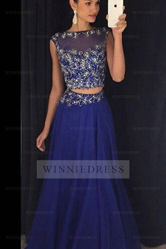 dress blue prom dress two-piece prom dress long prom dress sequin prom dress formal dress formal event outfit