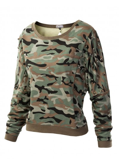 Womens trendy  studded camo print cropped sweatshirt