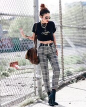 pants,tumblr,tartan,plaid,boots,black boots,ankle boots,bag,brown bag,t-shirt,black t-shirt,necklace,gold necklace,jewels,jewelry,gold jewelry,sunglasses,belt,western belt,black crop top,crop tops,plaid pants
