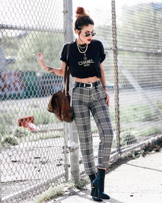 pants tumblr tartan plaid boots black boots ankle boots bag brown bag t-shirt black t-shirt necklace gold necklace jewels jewelry gold jewelry sunglasses belt western belt black crop top crop tops