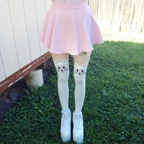 underwear cats white stocking skirt pink kawaii shoes tights