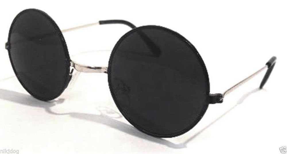 John Lennon Sunglasses Round Black Frame Silver Arms Super Dark Black Lenses | eBay