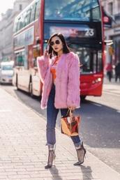 jacket,pink jacket,fur jacket,boots,bag,metallic,jeans,denim,blue jeans,transparent,clear,socks