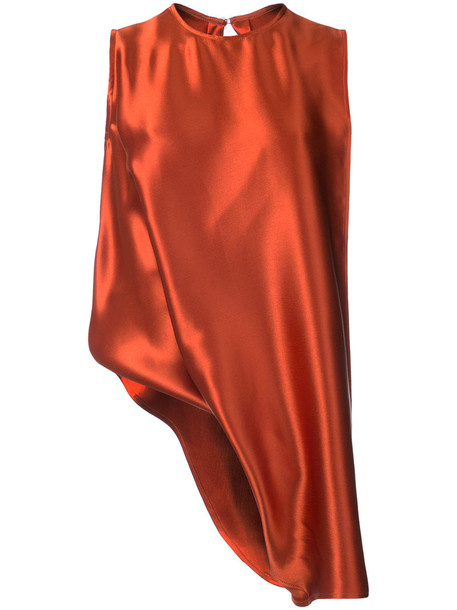 blouse sleeveless women silk yellow orange top