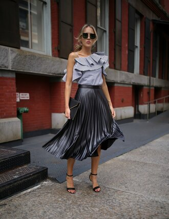 memorandum blogger blouse skirt shoes bag jewels sunglasses pleated skirt midi skirt ruffled blouse ruffle summer outfits clutch sandals