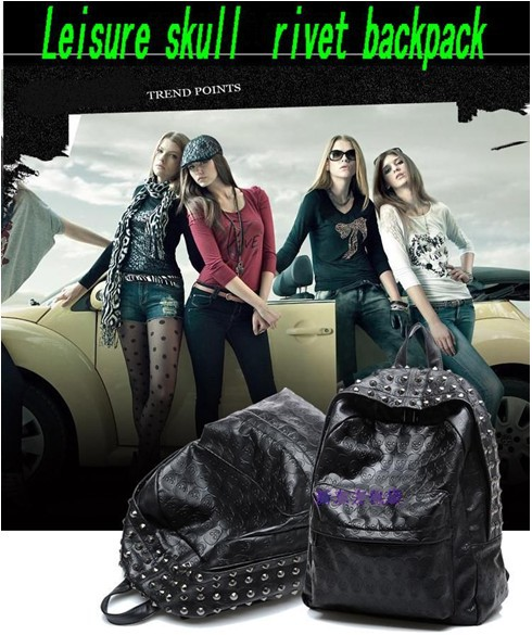 PUNK Skull Heads Rivet Clinch Preppy Style Backpack Shoulders Bag Women Grils Free Shipping-in Bag Parts & Accessories from Luggage & Bags on Aliexpress.com