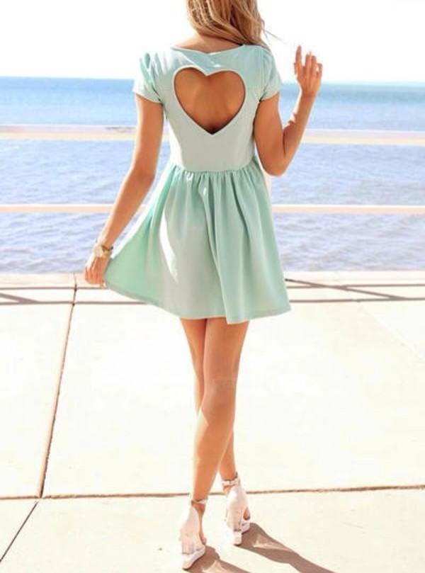 dress blue dress heart mint dress heart cut out skater dress
