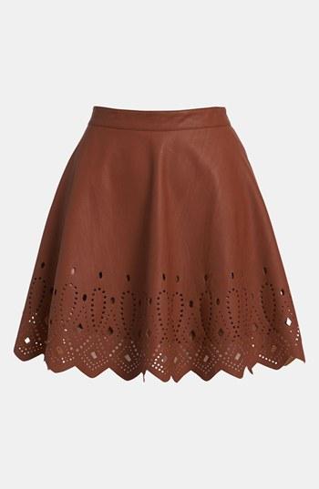 Astr cutout faux leather skirt