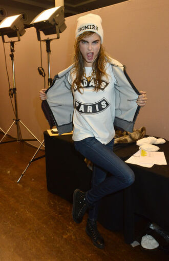 hat beanie cara delevingne punk rock hipster clothes cool badass shirt homies celebrity style