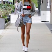 top,tumblr,sweatshirt,shorts,denim shorts,sneakers,white sneakers,converse,bag,grey bag,tommy hilfiger,shoes