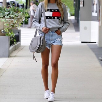 top tumblr sweatshirt shorts denim shorts sneakers white sneakers converse bag grey bag tommy hilfiger shoes