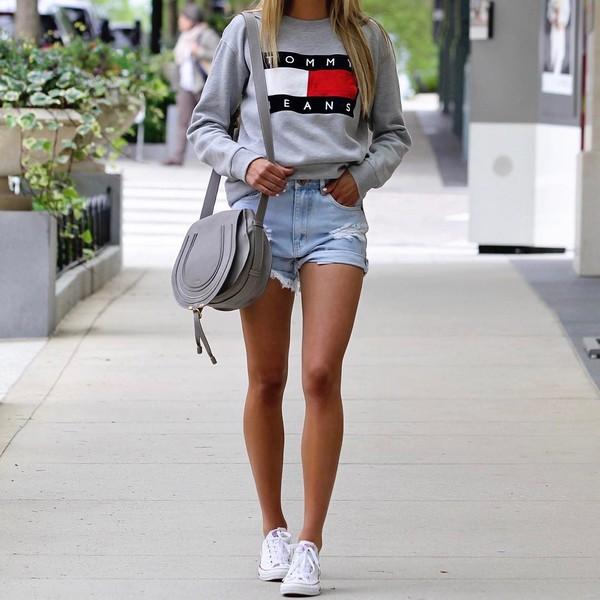 top tumblr sweatshirt shorts denim shorts sneakers white sneakers converse  bag grey bag tommy hilfiger shoes. 1edd8792f078b