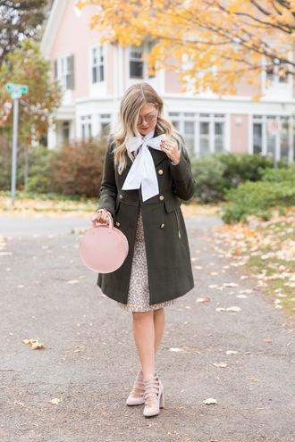 suburban faux-pas blogger jacket blouse skirt shoes sunglasses fall outfits green coat round bag pumps