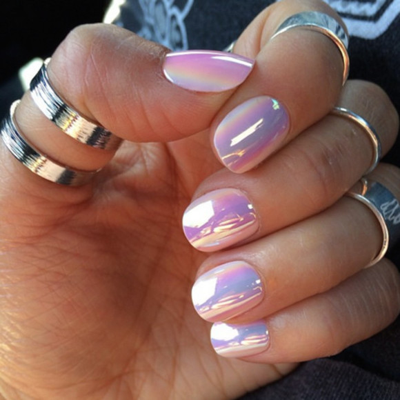 nail polish ring nails art purple girly rainbow holographic