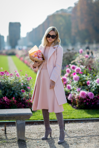 late afternoon blogger dress coat shoes sunglasses bag jewels pink coat pink dress grey boots thigh high boots pink winter outfit