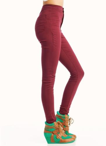 High-Waisted Skinny Jeans $39.30 in BLACK BURGUNDY MOCHA MUSTARD ...