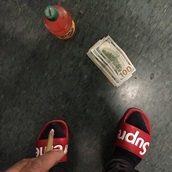 shoes,slippers,red,white,supreme
