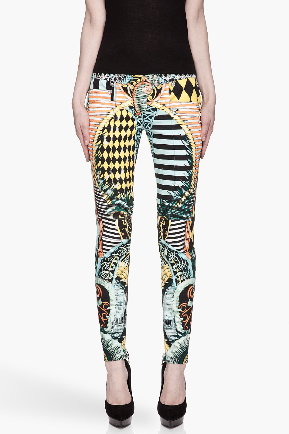 balmain turquoise multicolor patterned biker jeans