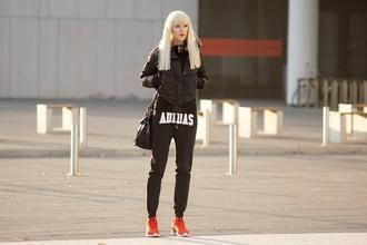 meri wild blogger adidas sweatpants down jacket jacket pants bag shoes make-up