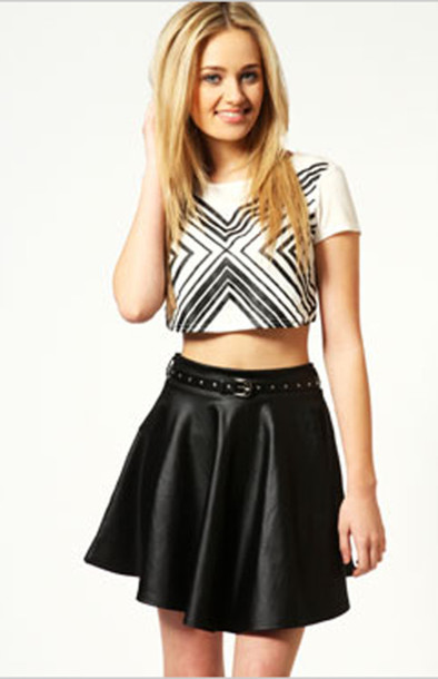 t-shirt crop tops white crop tops skater skirt