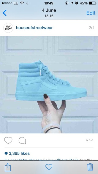 shoes baby blue blue vans trainers light blue